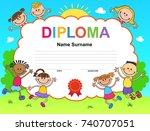 kids diploma certificate... | Shutterstock . vector #740707051