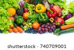tropical fresh fruits and... | Shutterstock . vector #740709001