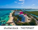 cancun aerial view of hotel... | Shutterstock . vector #740709607
