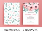 delicate wedding invitation... | Shutterstock .eps vector #740709721