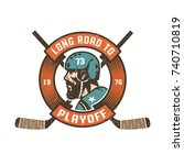 hockey playoff logo with... | Shutterstock .eps vector #740710819