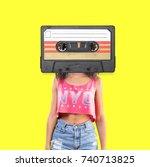 retro music concept. | Shutterstock . vector #740713825