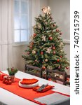 christmas table with tableware... | Shutterstock . vector #740715739