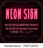 bright neon alphabet letters ... | Shutterstock . vector #740716441