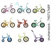 various type of kids bikes set  ...   Shutterstock .eps vector #740717689