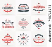 set of merry christmas and... | Shutterstock .eps vector #740718175