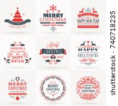 set of merry christmas and... | Shutterstock .eps vector #740718235