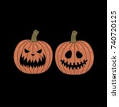 jack o' lanterns happy... | Shutterstock .eps vector #740720125