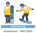 a young man with snowboard ... | Shutterstock .eps vector #740721835