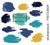 vector paint brush spots  hand... | Shutterstock .eps vector #740723839