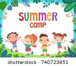 many kids around the banner ... | Shutterstock . vector #740723851