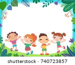 many kids around the banner ... | Shutterstock . vector #740723857