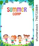 many kids around the banner ... | Shutterstock . vector #740723884