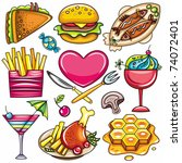 set of ready to eat food icons... | Shutterstock .eps vector #74072401