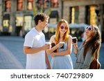 group of young tourists stroll... | Shutterstock . vector #740729809
