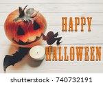 happy halloween text. jack... | Shutterstock . vector #740732191