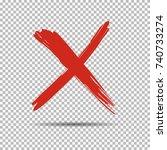 an red cross  x  on transparent ... | Shutterstock . vector #740733274