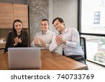 business people applause... | Shutterstock . vector #740733769
