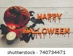 scary happy halloween text ... | Shutterstock . vector #740734471