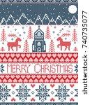 nordic style merry christmas... | Shutterstock .eps vector #740735077