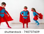 children playing superheroes.... | Shutterstock . vector #740737609