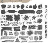 big grunge set   dirt and ink | Shutterstock .eps vector #74073910