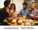 dinner with friends | Shutterstock . vector #740739454