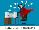 businessman success at the desk ... | Shutterstock .eps vector #740739811
