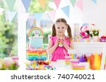 kids birthday party with... | Shutterstock . vector #740740021