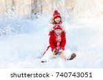 little girl and boy enjoying... | Shutterstock . vector #740743051