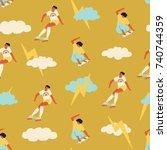 skateboarding seamless pattern... | Shutterstock .eps vector #740744359