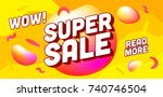 super sale banner. sale and... | Shutterstock .eps vector #740746504