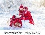 kids sledding in winter forest. ... | Shutterstock . vector #740746789