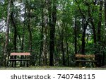 two wooden decorated bench in a ...   Shutterstock . vector #740748115
