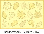 vintage artistic set of autumn... | Shutterstock .eps vector #740750467