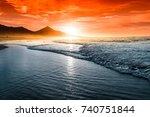amazing atlantic ocean beach... | Shutterstock . vector #740751844