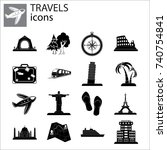 travel set | Shutterstock .eps vector #740754841