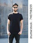 hipster handsome male model... | Shutterstock . vector #740758255