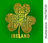 irish shamrock vector art with... | Shutterstock .eps vector #740758735