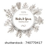 round banner template with hand ... | Shutterstock .eps vector #740770417