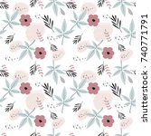 seamless pattern with beautiful ... | Shutterstock .eps vector #740771791