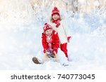 little girl and boy enjoying... | Shutterstock . vector #740773045