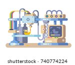3d printing device flat design. ... | Shutterstock .eps vector #740774224