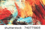 bright artistic splashes on... | Shutterstock . vector #740775805
