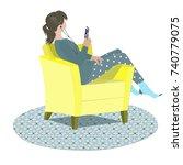 teenage girl dressed in pajama... | Shutterstock .eps vector #740779075