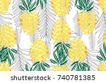 tropical seamless pattern. ripe ... | Shutterstock .eps vector #740781385