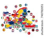 map of western  europe... | Shutterstock .eps vector #740782051