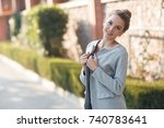 woman portrait outdoor. cute... | Shutterstock . vector #740783641