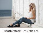 woman portrait outdoor. cute... | Shutterstock . vector #740785471