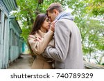young loving couple in... | Shutterstock . vector #740789329